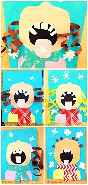 Children Catching Snowflakes on their Tongue (Winter Craft for Kids) - Comes with a free printable template too!   CraftyMorning.com