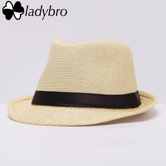Ladybro Women Hat For Men Hat Ladies Summer Beach Cap Sun Hat Female Panama Straw Male Gangster Trilby Fashion Sun Visor Cap
