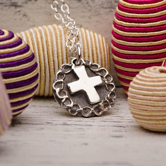 Cross Rose Pendant Necklace Sterling Silver Handmade Jewelry