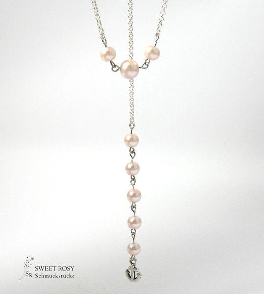Brautschmuck - Braut Schmuck Perlen Rückenkette Anker Perle Hochzeitskette Brautschmuck rosé rosa rose Hochzeit Kette - ein Designerstück von sweetrosy bei DaWanda