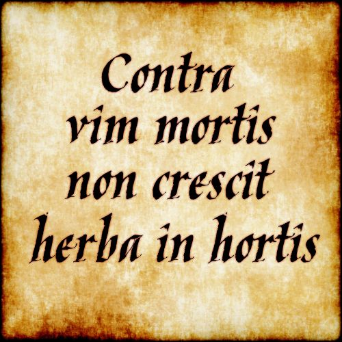 "Contra Vim Mortis Non Crescit Herba In Hortis - ""no herb grows in the gardens against the power of death"""