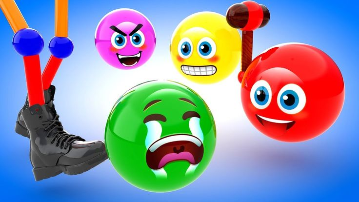 Learn Colors with Funny Face Emojis Wooden Hammer Colour Balls 3D Kids C...