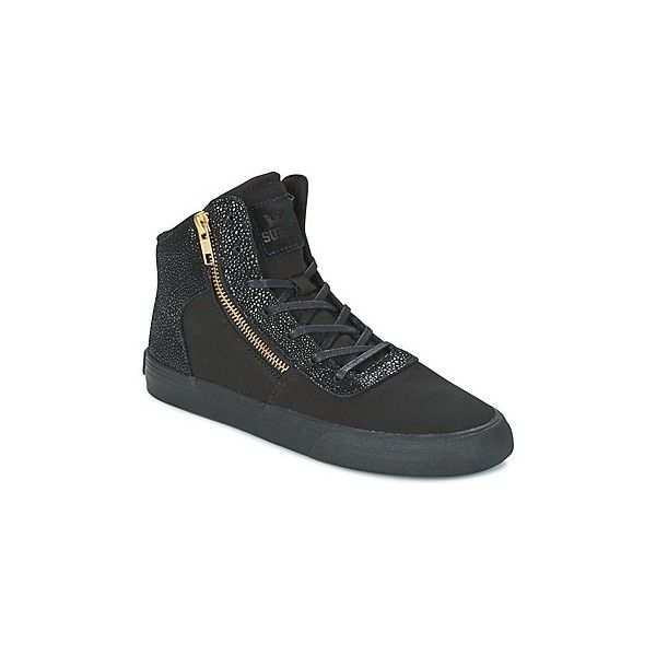 Supra WOMENS CUTTLER Shoes (301.330 COP) ❤ liked on Polyvore featuring shoes, sneakers, black, urban shoes, black high top shoes, black high-top sneakers, supra high tops and supra shoes
