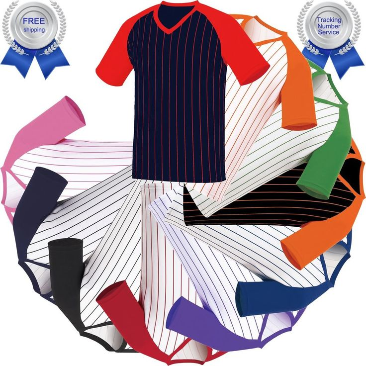 Raglan T-Shirt Stripe Baseball Jersey Short Sleeves V-Neck Tee Team Sports New