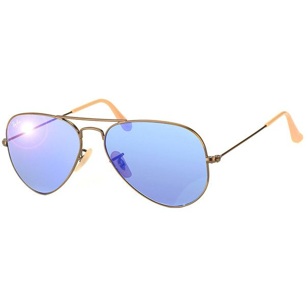 Ray-Ban Unisex RB3025 167/68 Demi-gloss Aviator Sunglasses ($125) found on Polyvore featuring accessories, eyewear, sunglasses, glasses, mirrored lens sunglasses, blue lens aviators, blue mirror sunglasses, mirrored aviator sunglasses and sports sunglasses