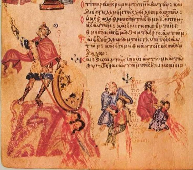 Phinehas, spearing Zimri and Cozbi. Sacrifice of children to the demon. Psalm-105, Chludov Psalter, Byzantine, 9th century, Moscow, Historical Museum MS 129