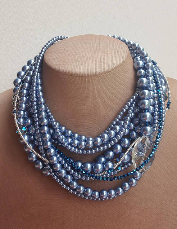 Check out this item in my Etsy shop https://www.etsy.com/ca/listing/518785430/multistrand-blue-pearl-necklace-mother