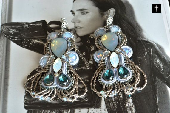 Chandelier Soutache Statement Earrings with Gray & by BYTWINS
