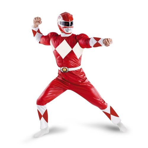 Red Power Ranger Adult Costume - This red power Ranger costume is complete with muscles. His easy to wear one piece Red suit is made from a soft nylon. It has a white vinyl collar with a white vinyl belt. The belt has a dinosaur insignia on it. The chest portion has a cotton chest pad sewn into it for that muscled look. His helmet is plastic and comes in two pieces. Your whole head is covered, so visibility is limited. #superheroes #powerrangers #yyc #costume