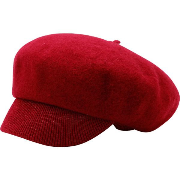 6d5bf0f049e Red Wool Blend Knitting Newsboy Hat (€12) ❤ liked on Polyvore featuring  accessories