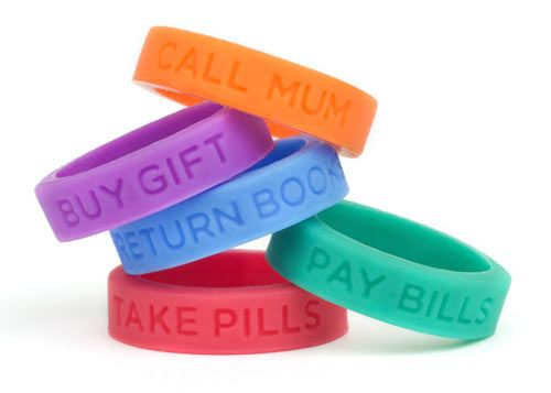 These stretchable silicon rings, similar to those yellow LIVESTRONG bracelets, have inscriptions on them that remind us of little, yet important things, such as Take pills; Call mum; Pay bills; Return books; Buy gift, etc, that always seem to slip our minds