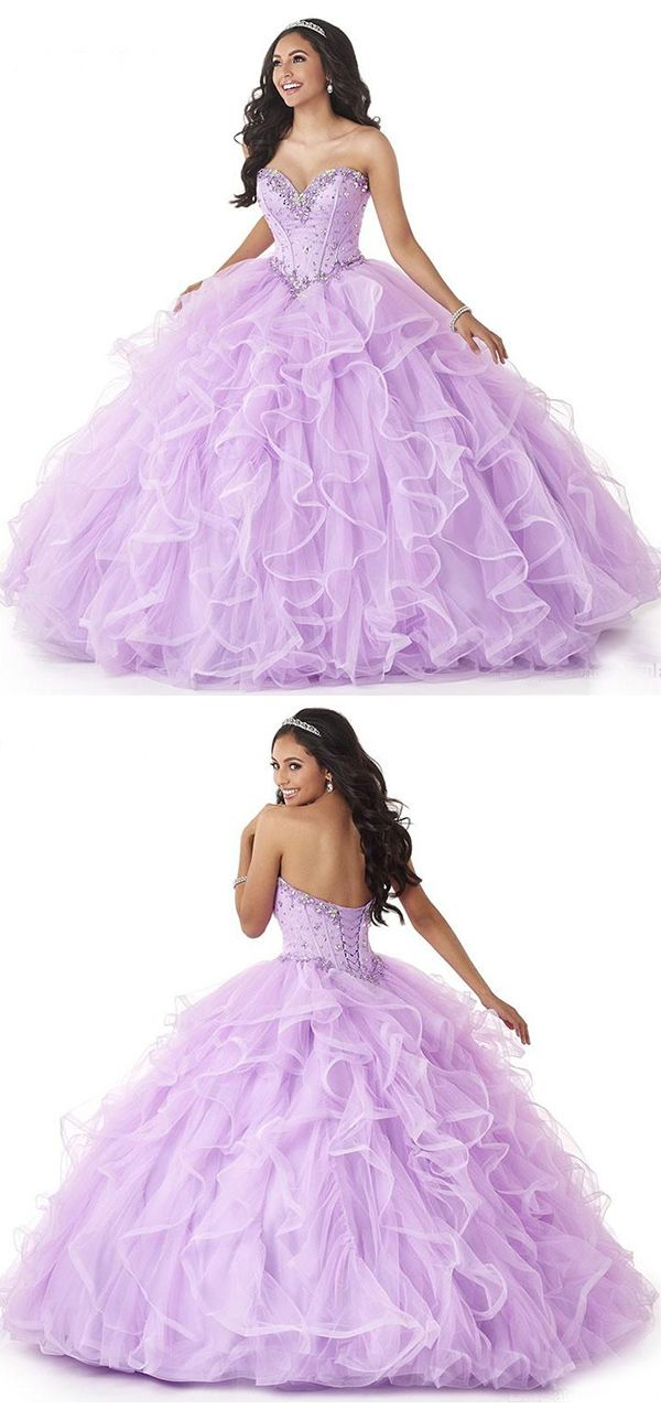 1d0817ac323 Light Purple Puffy Ruffles Skirt Sweet 16 Ball Gown Dresses Shiny Beading Quinceanera  Dresses vestido 15 anos in 2019