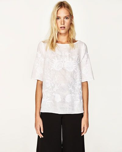 Image 2 of EMBROIDERED LINEN BLOUSE from Zara
