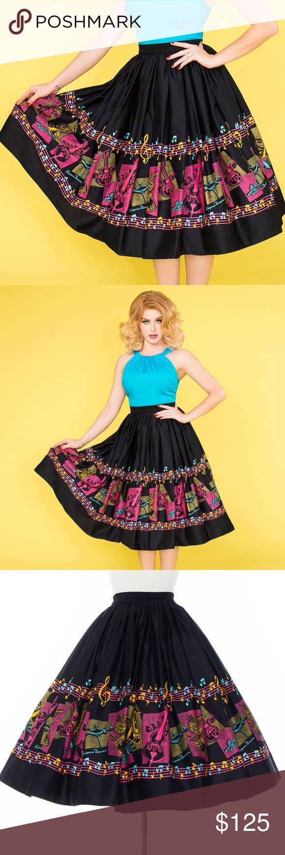 NEW 🎶Pinup Girl Jenny Skirt - MUSIC BORDER PRINT BRAND NEW WITH TAGS 🎶🎤 Pinup Girl Jenny Skirt - MUSIC BORDER PRINT - is made of cotton sateen, full skirt with 💕 POCKETS 💕. Flattering on every body type, the fullness of our Jenny Skirt works to slim bigger hips and make your waist look smaller while also creating instant curves for those that are more slender. Print from artist Stephanie Buscema. Border of drums, guitars, trumpets, saxophones, bass, cymbals & music notes in hot pink…