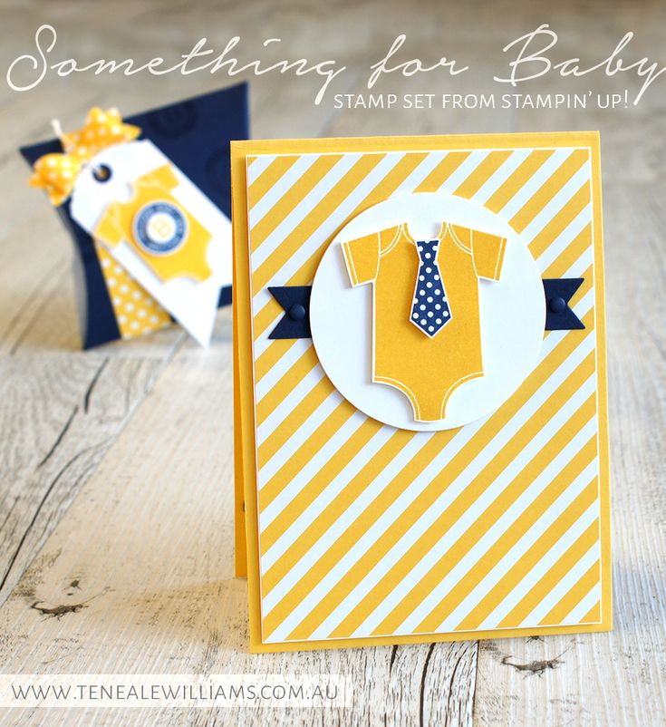 By Teneale Williams | Baby Boy welcome card with gift card pocket in Night Of Navy and Daffodil Delight | All materials from Stampin' Up! Something for Baby.