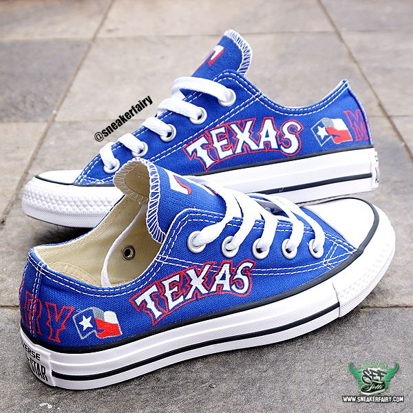 sneaker fairy fetti dbiasi custom sneakers converse chucks chuck taylor low blue royal texas rangers baseball mlb shoes dallas fort worth alamo