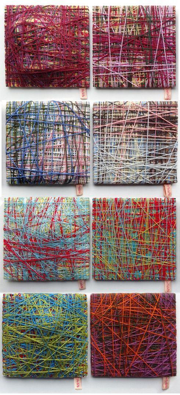 Cécile Dachary - Habité/Inhabité, dyptique, 20 cmX 20 cm, objets divers, fils, tissus, bois, 2014