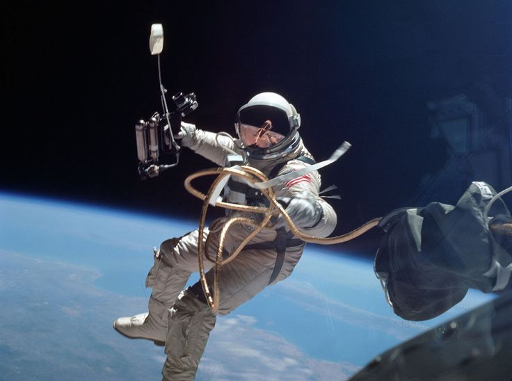 Astronaut Edward White floats in zero gravity of space northeast of Hawaii, during the first-ever spacewalk for an American, on June 3, 1965, during the flight of Gemini IV.