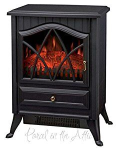 NEW Wood Burner Log Effect Electric Fire Free Standing Portable Stove in Black: Amazon.co.uk: Kitchen & Home