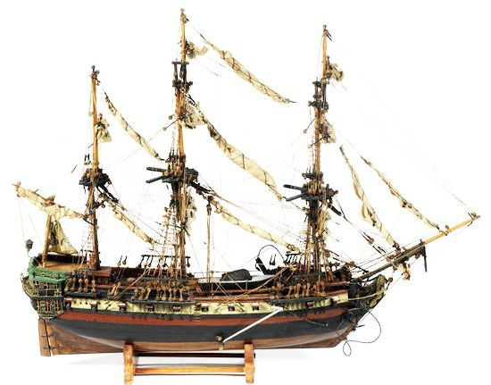 A late 19th century French model of a Sloop 'man of war' ship.
