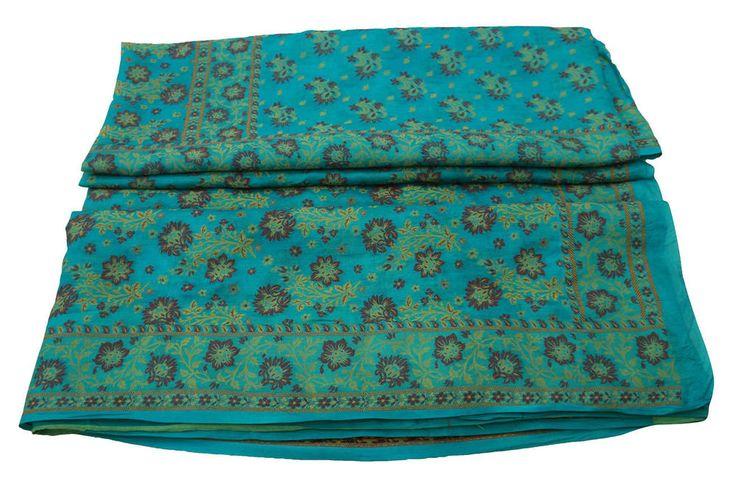 Vintage Indian Sari Pure Silk Woven Fabric Craft Art Used Art Sarong Blue Sari #Vintageandyou #VintageSaree #CausalWearCrafting