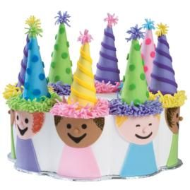 There's Plenty of Fun to Go Around! Festive figures clad in equally festive T-shirts crowd around a 12 in. x 2 in. Petal Pan cake. Make hats by covering sugar cones with vibrant fondant.