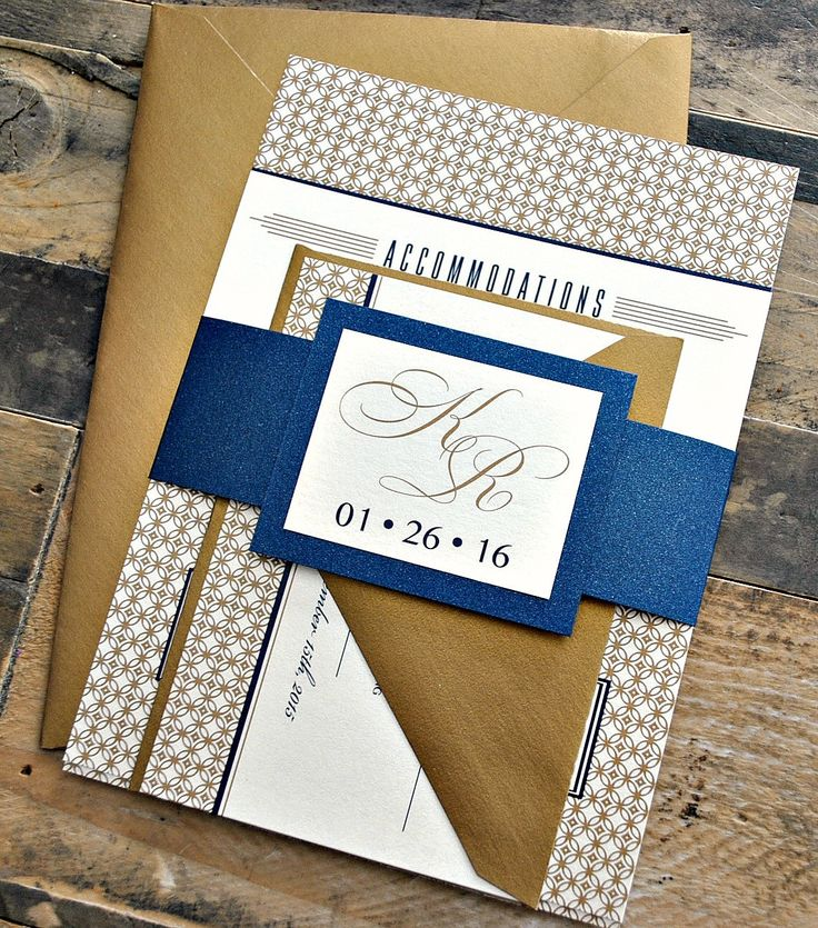 Items Similar To Art Deco Wedding Invitation Suite With Belly Band Antique Gold Navy And Ivory Colors Are Customizable For Your Order On Etsy