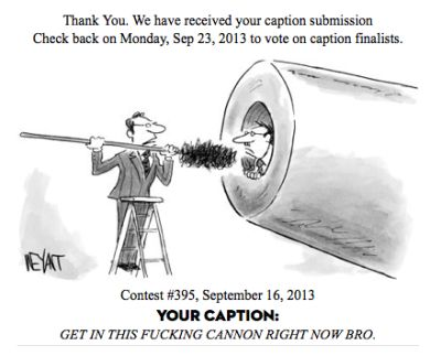An imbecile desperately tries to win the New Yorker Cartoon Caption Contest