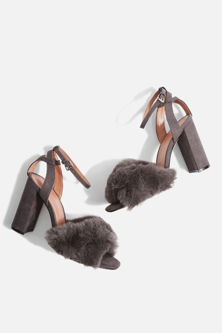 Sassy Faux Fur Heeled Sandals - Topshop