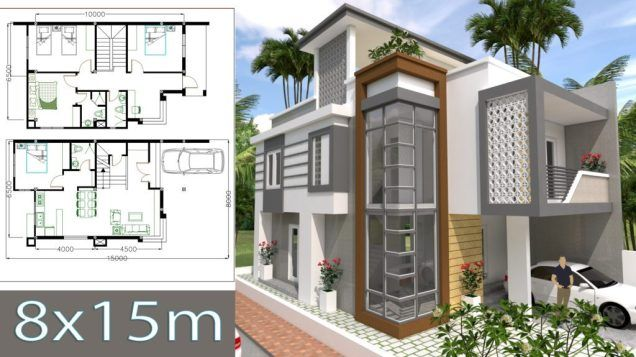 House Plans 8x15m with 4 Bedrooms in 2019 | Sam House Plans com