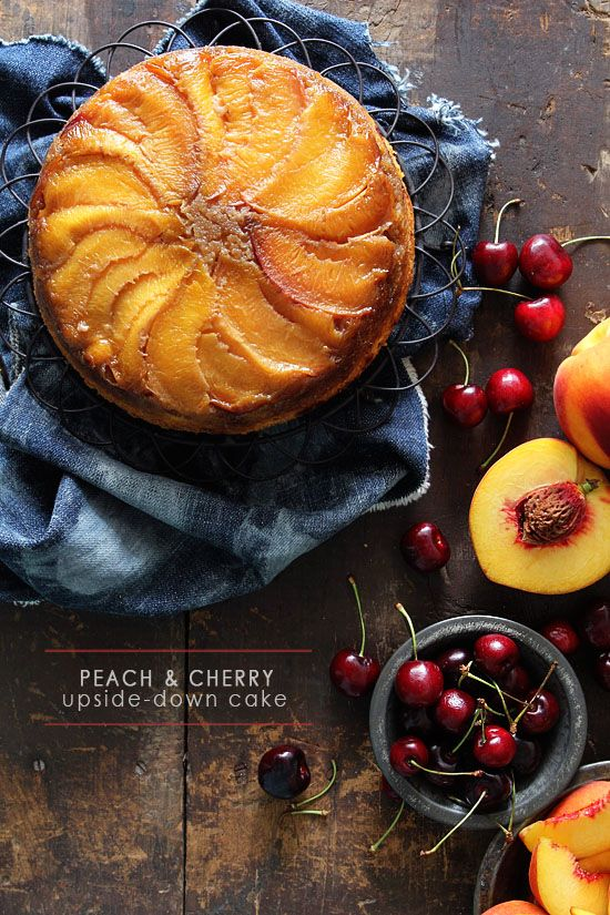 Use summer fresh fruit to make this Peach & Cherry Upside-Down Cake! See the full post on Delish Dish: http://www.bhg.com/blogs/delish-dish/2013/07/22/cherry-peach-upside-down-cake/?socsrc=bhgpin072213cherrypeachcake