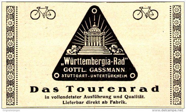Original-Werbung/ Anzeige 1926 - WÜRTTEMBERGIA FAHRRAD / GASSMANN - STUTTGART - UNTERTÜRKHEIM - ca. 90 x 50 mm