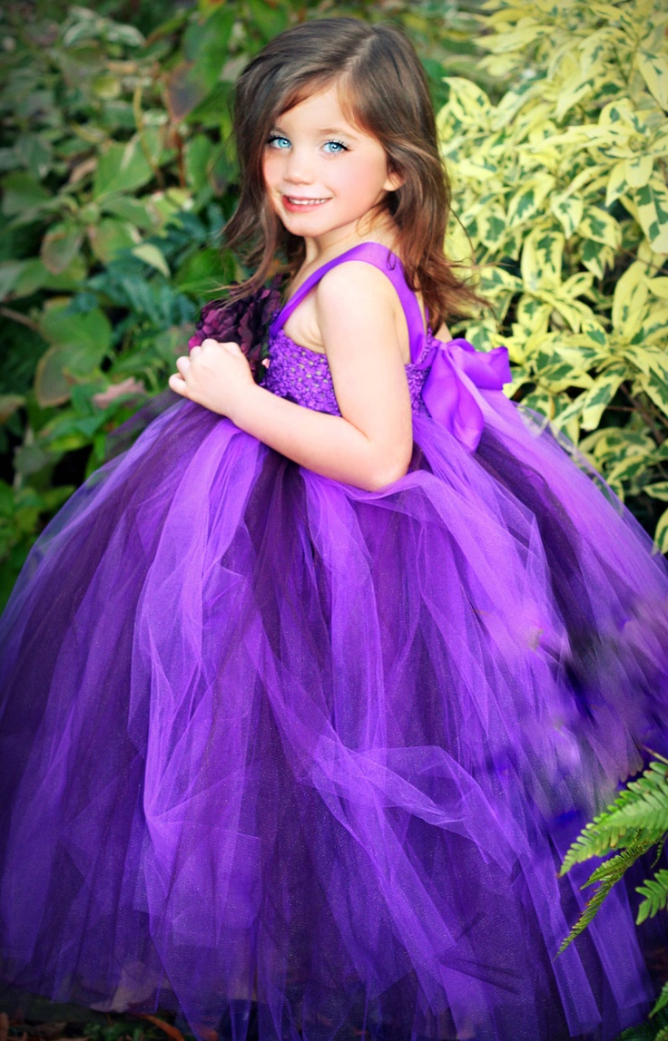 Decadently purple flower girl tutu dress featuring purple