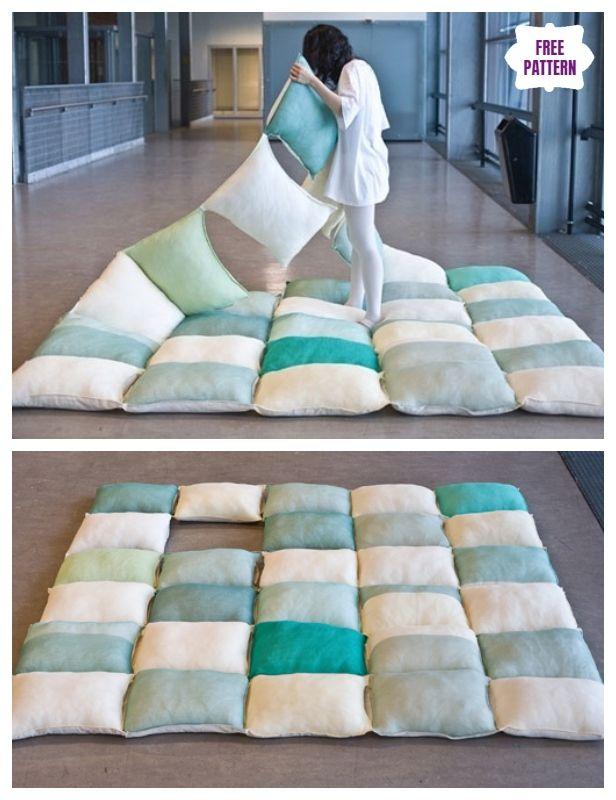 Diy Simple Roll Up Pillow Bed Floor Cushion Bed Pillows Kids Pillows Bed Modern Bedding Decor