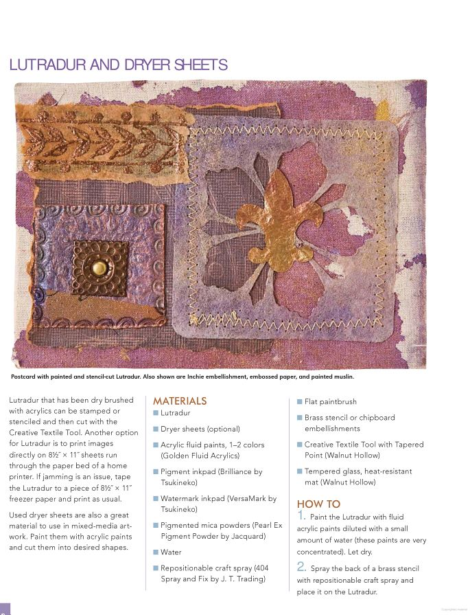 Fabric Art Collage-40+ Mixed Media Techniques - lutradur