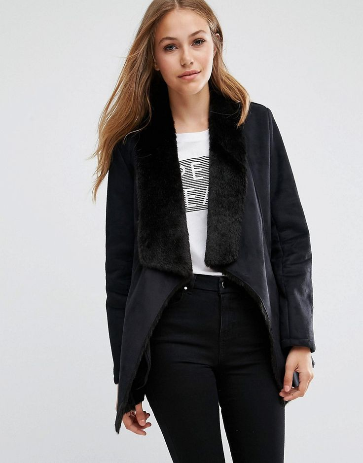 Buy it now. Pepe Jeans Laurie Suede Waterfall Coat - Black. Coat by Pepe Jeans, Mid-weight faux-suede, Soft-touch finish, Faux-fur lining, Shawl collar, Functional pockets, Regular fit - true to size, Machine wash, 76% Polyester, 24% Modal, Our model wears a UK S/EU S/US XS and is 178cm/5'10 tall. ABOUT PEPE JEANS The pipedream of three brothers, Pepe Jeans began on London's hip Portobello Market, armed only with their premium quality, great fitting jeans. The success of their covetable…