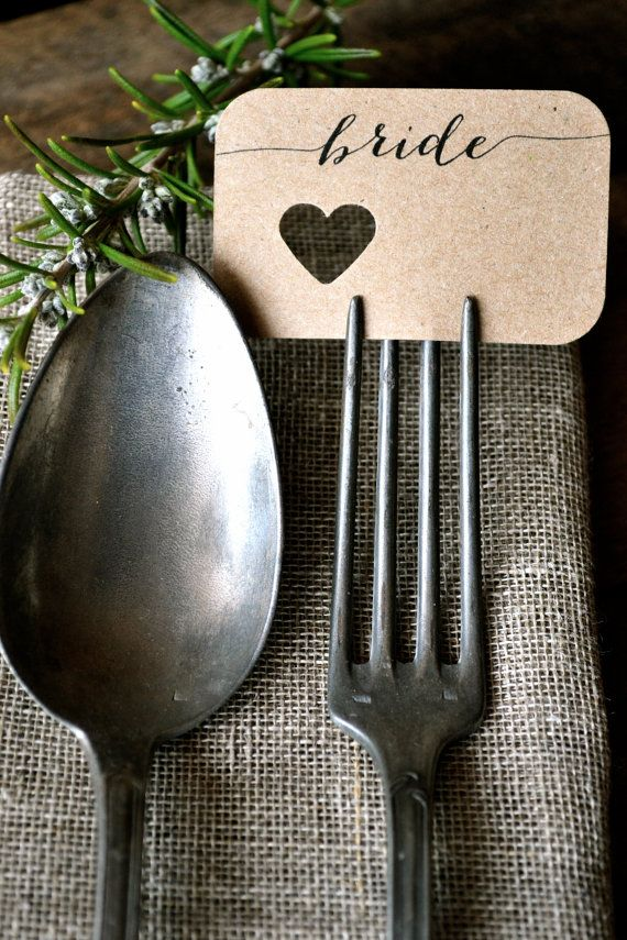 Wedding Fork Place Cards/ Wedding Place Cards by LaPommeEtLaPipe, $0.85