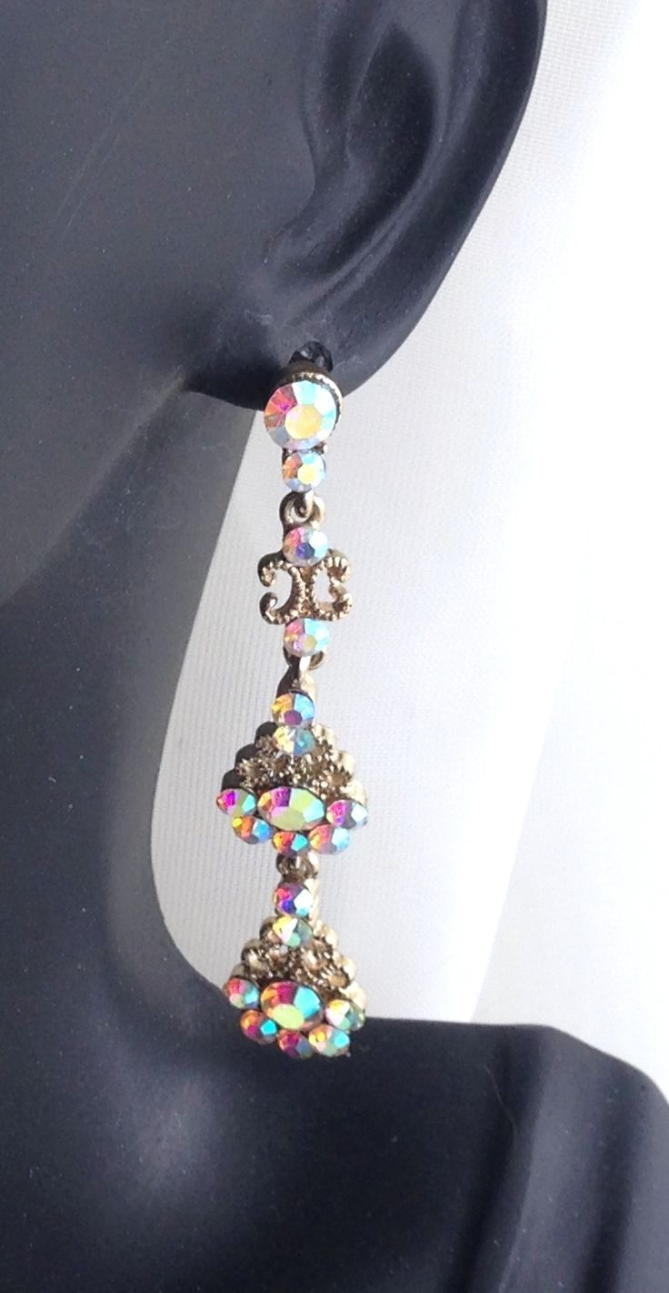 Gorgeous Aurora Swarovski Crystal Drop Dangle Earrings