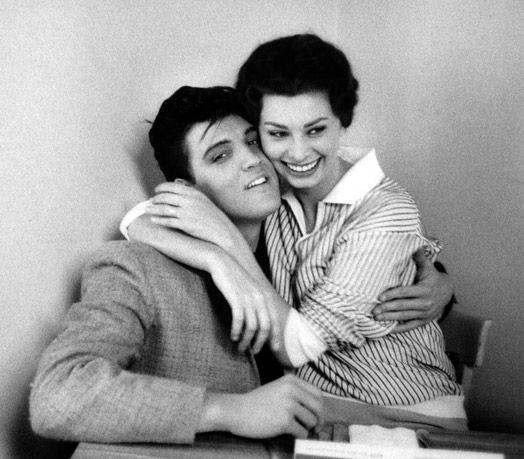 Sophia Loren grabs hold of Elvis Presley, Paramount Studios, 1958 ♥Bobs Willoughby, Sophia Loren, 1958, Hollywood, Celebrities, Elvis Presley, People, Art Music, Sophialoren
