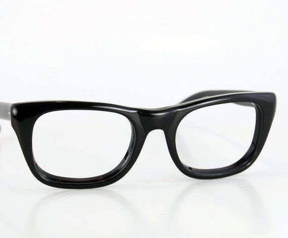 f8f1983a2321 Vintage 50s Men Thick Black Horn Rim Cat Eye Glasses by thenovelty |  thenovelty.etsy.com | Glasses, Cat eye glasses, Eye glasses
