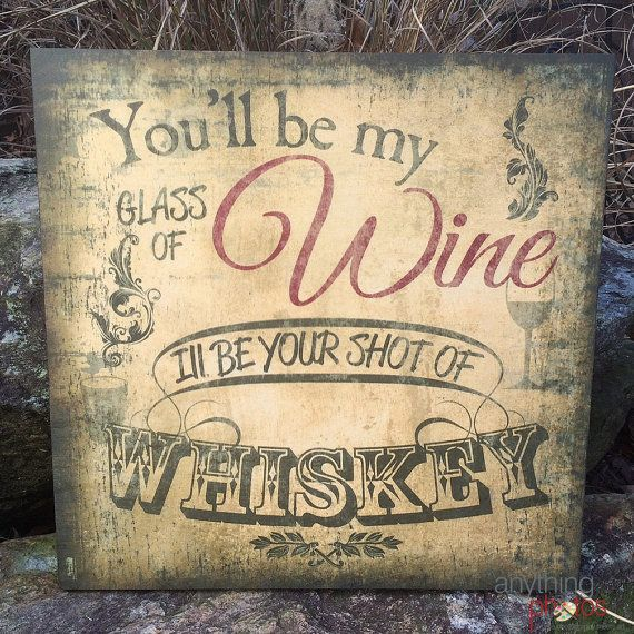 Glass of Wine Shot of Whiskey Rustic Artwork by AnythingPhotos