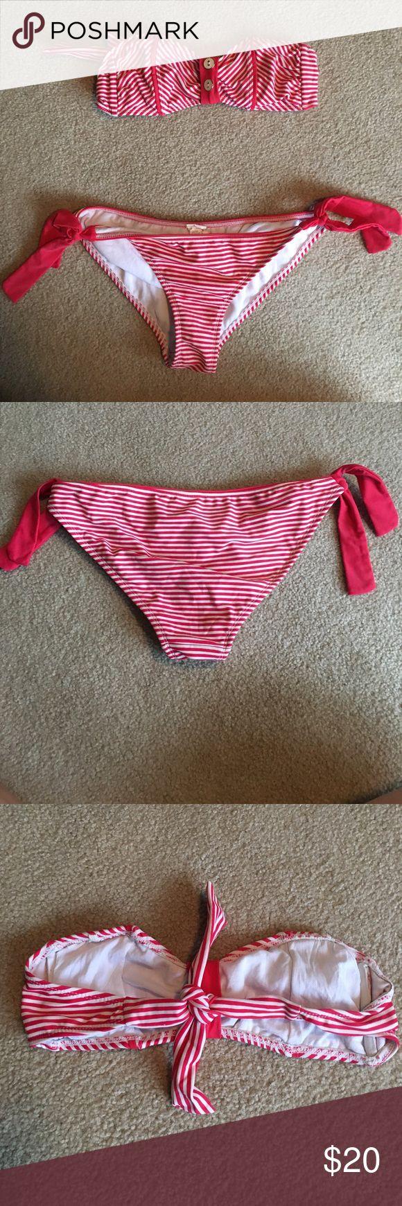 Target bikini Red and white striped bikini top size small bottoms size medium Xhilaration Swim Bikinis
