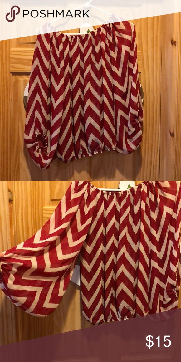 Red and white chevron top Beautiful red and white chevron top Tops