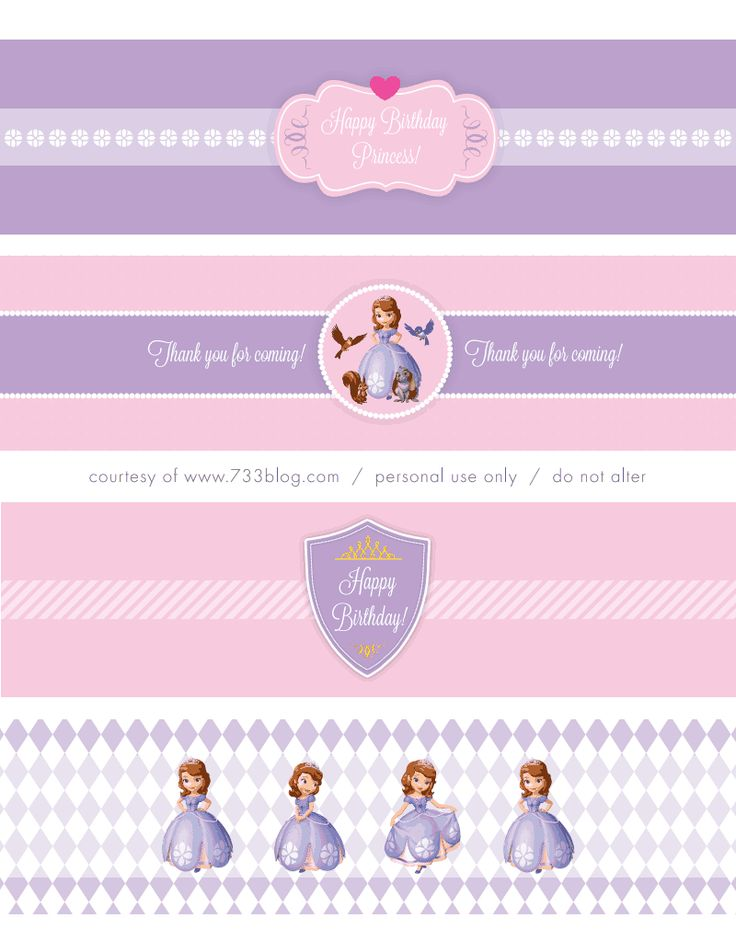 Sofia the First party, free printables sofia_water_label.pdf | Free - Favors chocolate bars ...