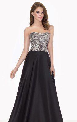 Strapless Beaded Satin Gown by Tarik Ediz 92706