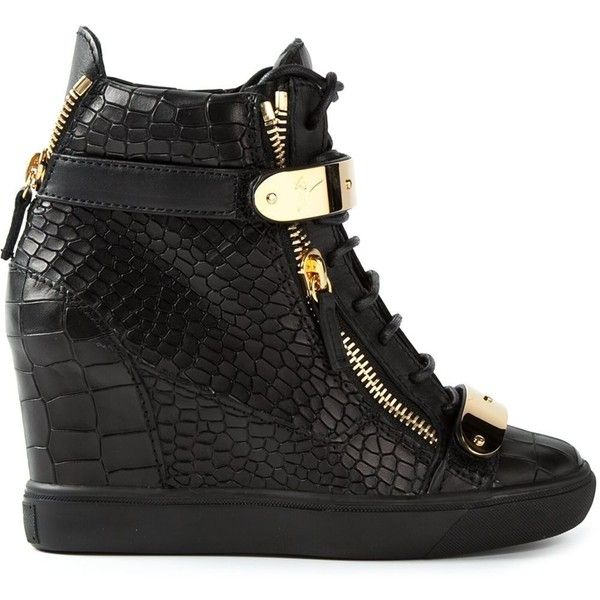 Giuseppe Zanotti Design concealed wedge heel hi-top sneakers (£670) ❤ liked on Polyvore featuring shoes, sneakers, giuseppe zanotti, heels, wedges, black, black high-top sneakers, high top wedge sneakers, giuseppe zanotti sneakers and wedge sneakers