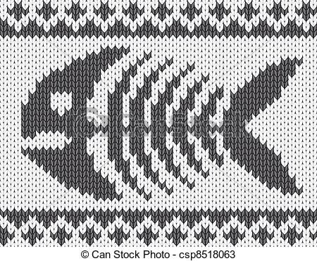 Knitted pattern with fish skeleton - csp8518063