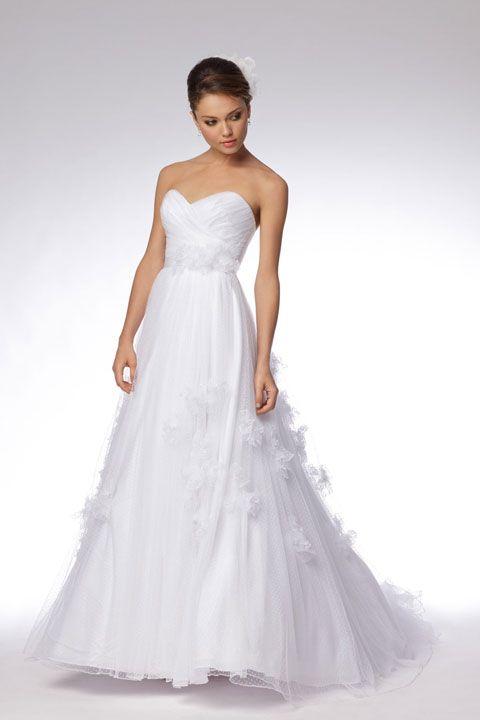 Modern sweetheart empire waist tulle wedding dress