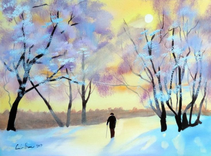 Winter snow scenes are some of the most popular paintings from our artists. Below are some great examples of the latest work from artists such as Gordon Bruce and Mal Burton. The nostalgic scenes depict life in the countryside and villages and towns in wi