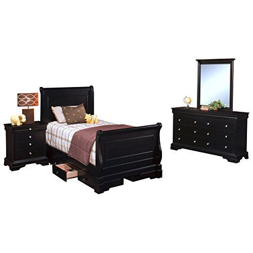 Black Hills Traditional Youth Sleigh 4 Piece Twin Bed, Nightstand, Dresser & Mirror in Black The Black Hills collection offers timeless traditional style made more contemporary with a beautiful black cherry finish. The sleigh bed and optional underbed storage presents grown up styling that... more details available at https://furniture.bestselleroutlets.com/children-furniture/bedroom-sets-children-furniture/product-review-for-black-hills-traditional-youth-sleigh-4-piece-t